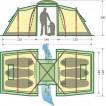 Палатка с двумя спальнями (3+3) и большим тамбуром посередине KSL Macon 6 зеленый
