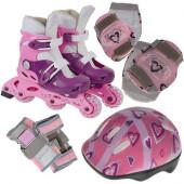 Набор: коньки роликовые, защита, шлем PW-120P