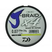 Леска плетеная Daiwa J-Braid X4 270м 0,07мм желтая