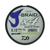 Леска плетеная Daiwa J-Braid X4 270м 0,10мм желтая