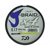 Леска плетеная Daiwa J-Braid X4 135м 0,17мм желтая