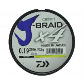Леска плетеная Daiwa J-Braid X4 270м 0,19мм желтая