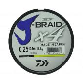 Леска плетеная Daiwa J-Braid X4 135м 0,25мм желтая