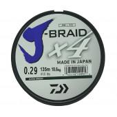 Леска плетеная Daiwa J-Braid X4 135м 0,29мм зеленая