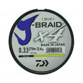 Леска плетеная Daiwa J-Braid X4 270м 0,33мм желтая