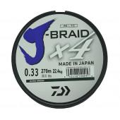 Леска плетеная Daiwa J-Braid X4 270м 0,33мм зеленая