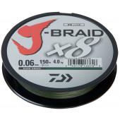 Леска плетеная Daiwa J-Braid X8 150м 0,06мм флуор-желтая