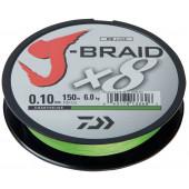 Леска плетеная Daiwa J-Braid X8 150м 0,10мм флуор-желтая
