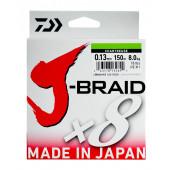 Леска плетеная Daiwa J-Braid X8 300м 0,13мм флуор-желтая