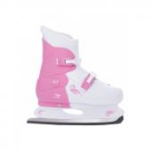 Коньки ледовые раздвижные PW-219-1 розовый/белый (р.29-32)