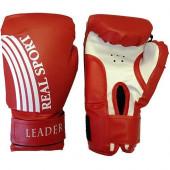 Перчатки боксерские Leader 12 унций, красный