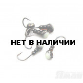 Мормышка Яман муравей с отв., цвет BN, с фосф. пяткой, d 4 (5 шт.) Я-МР168