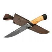 Нож складной Ворсма Осетр, дамасская сталь, береста, граб, дюраль (кузница Семина)