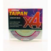 Леска плетеная Siweida Taipan Sensor PE Braid X4 135м 0,23мм (13,60кг) ярко-зеленая