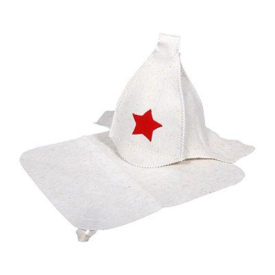 Набор для бани Hot Pot (шапка Будёновка белая, коврик) войлок 41128