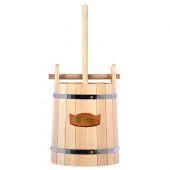 Кадка для воды и солений Банные Штучки с замком и гнетом липа 15 л 32689