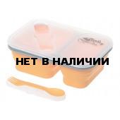 Контейнер для еды Tramp 900мл силикон, 2 отсека, с ловилкой оранжевый TRC-090