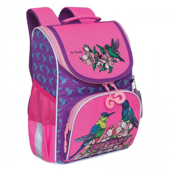 Ранец школьный ортопедический Grizly Птички с сумкой для обуви 8 л RAm-084-3/2 (229526)