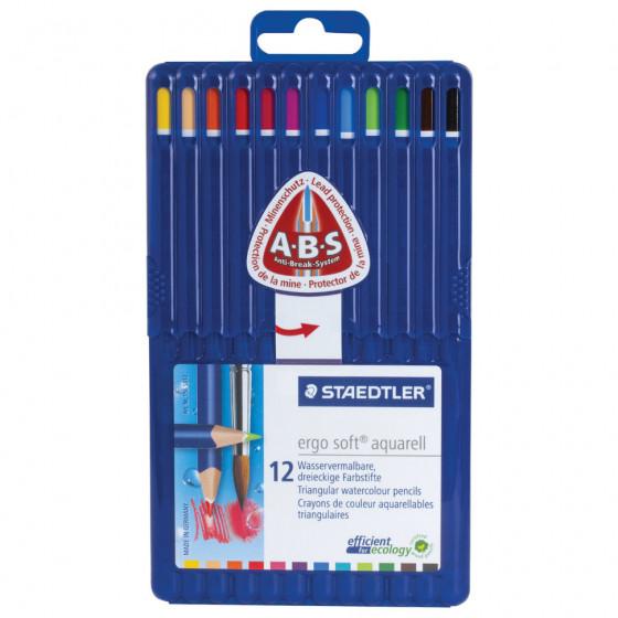 Карандаши цветные акварельные трехгранные Staedtler Премиум Ergosoft 12 цветов в футляре 156 SB12