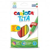 Карандаши цветные утолщенные пластиковые Carioca Tita Maxi 12 цветов 5 мм 42789