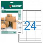 Этикетка самоклеящаяся Lomond 64,6х33,4 мм 50 листов по 24 шт белая 2100175