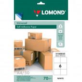 Этикетка самоклеящаяся Lomond 105х99 мм 50 листов по 6 шт белая 2100035
