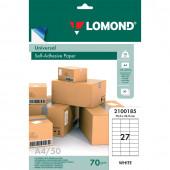 Этикетка самоклеящаяся Lomond 70х32 мм 50 листов по 27 шт белая 2100185