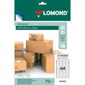 Этикетка самоклеящаяся Lomond 48,5х16,9 мм 50 листов по 64 шт белая 2100205