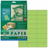 Этикетка самоклеящаяся Lomond 70х37 мм 50 листов по 24 шт зеленая 2120165