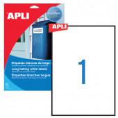 Этикетка самоклеящаяся всепогодная Apli 210х297 мм 20 листов по 1 шт белая 01228