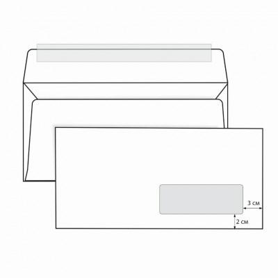 Конверты почтовые Е65 правое окно, отрывная полоса, 1000 шт