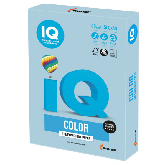 Бумага цветная для принтера IQ Color А4, 80 г/м2, 500 листов, голубой лед, OBL70