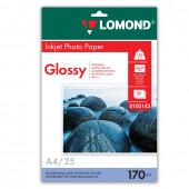 Фотобумага для струйной печати Lomond А4, 170 г/м2, 25 листов, односторонняя глянцевая 0102143