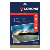Фотобумага для струйной печати Lomond А4, 270 г/м2, 20 листов, односторонняя суперглянцевая 1106100