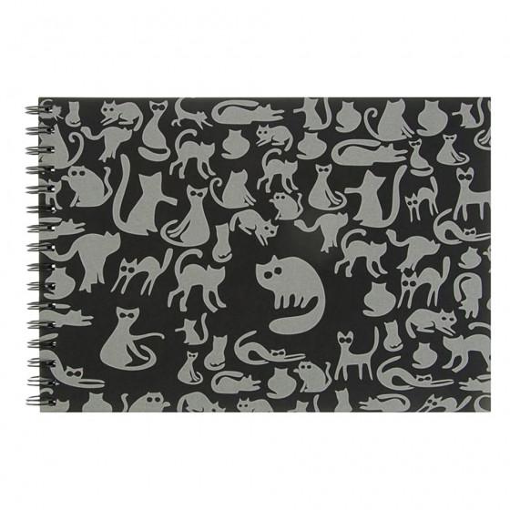 Скетчбук черный А4 Лилия Ночные Коты 40 листов, 160 г/м2, на спирали БЛ-8918