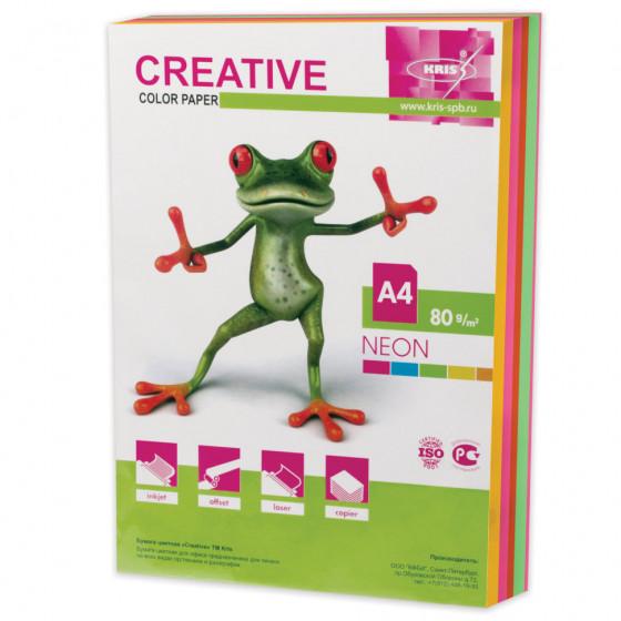 Бумага цветная Creative Color А4, 80 г/м2, 250 листов, 5 цветов, БНpr-250r