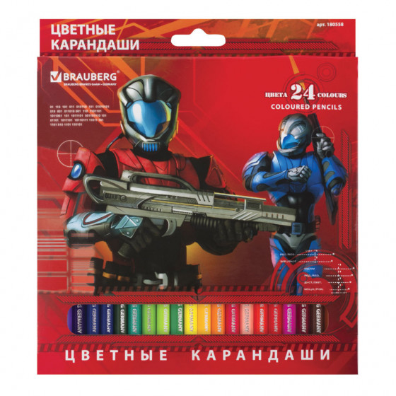 Карандаши цветные Brauberg Star Patrol 24 цвета 180558