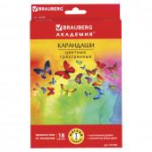 Карандаши цветные трехгранные Brauberg Бабочки 18 цветов 181286