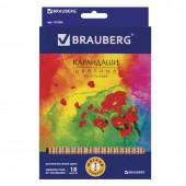 Карандаши цветные трехгранные Brauberg Цветы 18 цветов 181289