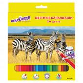 Карандаши цветные Юнландия Мир Животных 24 цвета 181385