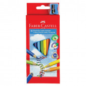 Карандаши цветные утолщенные трехгранные Faber Castell Jumbo 10 цветов с точилкой 116510