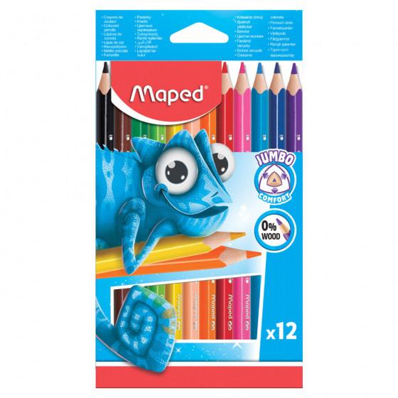 Карандаши цветные утолщенные трехгранные пластиковые Maped Pulse 12 цветов 834352