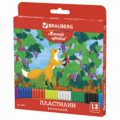 Пластилин восковой Brauberg 12 цветов 180 г со стеком 103307
