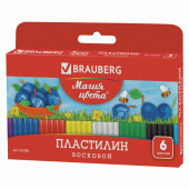 Пластилин восковой Brauberg 6 цветов 90 г со стеком 103306