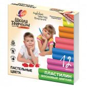 Пластилин восковой пастельный Луч Школа Творчества 12 цветов 180 г 29С 1771-08
