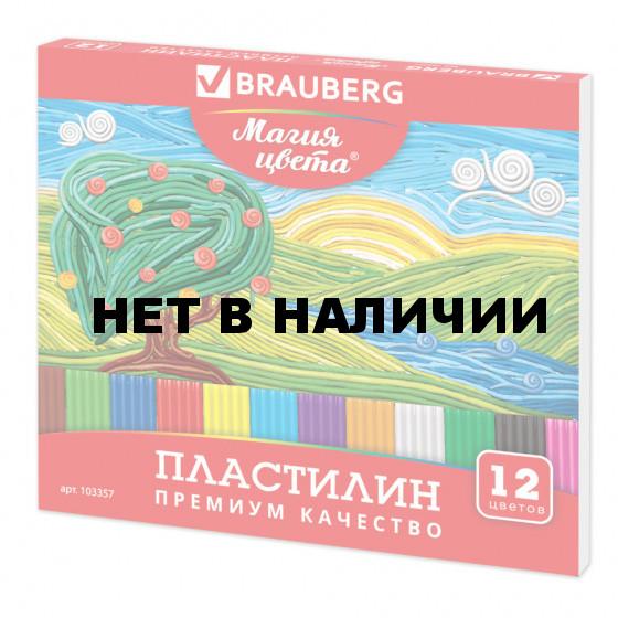 Пластилин классический Brauberg 12 цветов 240 г со стеком 103357