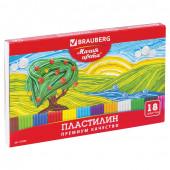 Пластилин классический Brauberg 18 цветов 360 г со стеком 103358