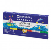 Пластилин классический Brauberg 6 цветов 120 г со стеком 103253