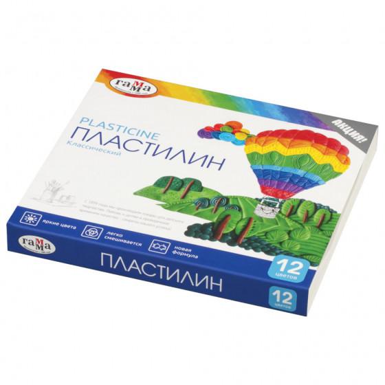 Пластилин классический Гамма Классический 12 цветов 240 г со стеком 281033
