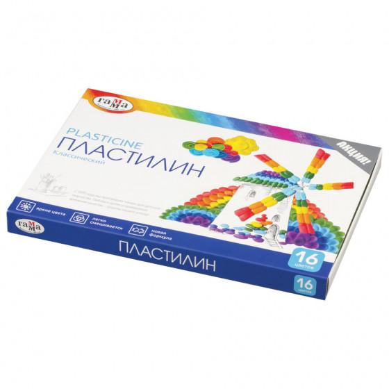 Пластилин классический Гамма Классический 16 цветов 320 г со стеком 281034